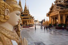 Schwedagon pagoda. The biggest Buddhist temple Schwedagon pagoda with praying Buddhist people, Rangoon, Burma Royalty Free Stock Photography