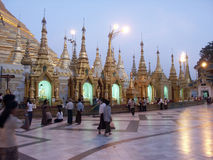 Schwedagon Pagoda. Towers of Buddhist Schwedagon Pagoda in Rangun, Burma at sunset Stock Photography
