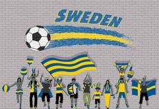 Schwede-Fußballfane, die mit Schweden zujubeln, kennzeichnen Farben vor stock abbildung