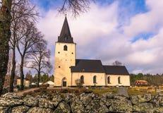 Schweden - 1. April 2017: Einzige Kirche in ländlichem Schweden Stockbild