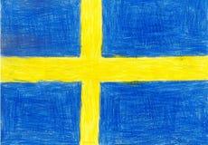 Schweden-Flagge, Bleistift-Zeichnungs-Illustrationskinderartfoto vektor abbildung