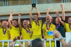 Schweden-Fußballnationalmannschaft Europäermeister Stockbilder