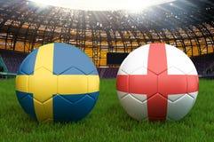 Schweden gegen England-Fußballteamball auf großem Stadionshintergrund Schweden gegen England-Teamwettbewerbs-Konzeptflagge auf Ba stock abbildung