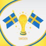 Schweden-Goldfußball-Trophäe/Cup und Flagge vektor abbildung
