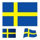 Schweden-Markierungsfahnenset Lizenzfreies Stockfoto