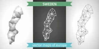 Schweden-Satz Grau und polygonale Karten des Silbermosaiks 3d Stockfotos