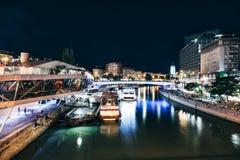 Schwedenplatz in Vienna Austria at night. Popular Schwedenplatz in Vienna Austria at night Stock Photo