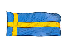 Schwedische Flagge auf weißem Hintergrund Stockfotografie