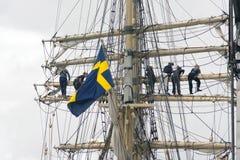 Schwedische Flagge an einem Schiff Lizenzfreies Stockbild