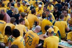 Schwedische Fußballfane auf Euro 2012 Stockbild