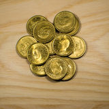 Schwedische goldene Münzen Stockfoto