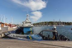 Schwedische Küstenwacheschiffe machten Oxelösund fest stockfotos