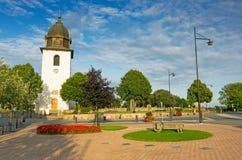 Schwedische Kirche im kleinen Dorf Stockfotografie