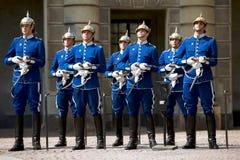 Schwedische königliche Abdeckung in der traditionellen Uniform Stockbilder