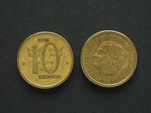 10 Schwedische Krone u. x28; SEK& x29; Münze Stockfotografie