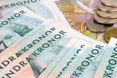 Schwedische Kronen-Banknoten u. Münzen Lizenzfreies Stockbild