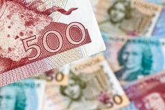 Schwedische Kronen. Schwedisches Bargeld Stockfoto