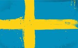 Schwedische Markierungsfahne beschmiert mit Lack Stockfotos