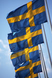 Schwedische Markierungsfahnen Lizenzfreie Stockfotos