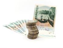 Schwedische Rechnungen und Münzen Lizenzfreie Stockfotografie