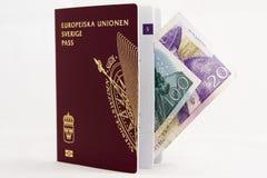 Schwedischer Paß mit Banknoten Lizenzfreie Stockbilder
