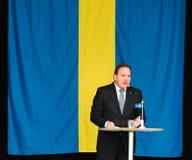 Schwedischer Premierminister Stefan Lofven, der am schwedischen Nationaltag, Hagelbyparken, Botkyrka spricht Lizenzfreie Stockfotografie