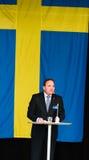 Schwedischer Premierminister Stefan Lofven, der am schwedischen Nationaltag, Hagelbyparken, Botkyrka spricht Stockfoto