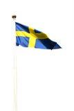 Schwedisches Flaggenfliegen Stockbilder