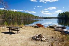 Schwedisches Paradies für Angler Stockfotografie