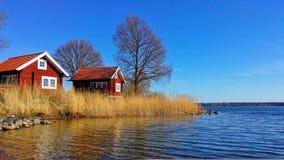 Schwedisches rotes Haus Stockbild