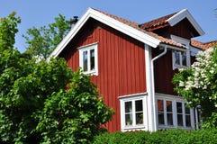 Schwedisches traditionelles Haus Stockbild