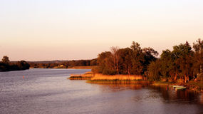 Schwedt / Oder. Water view from a bridge in Schwedt Stock Image