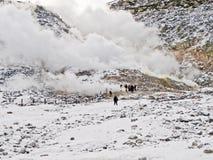 Schwefeldämpfe und vulkanische Aktivität, Hokkaido Lizenzfreie Stockbilder