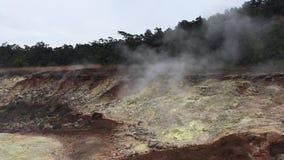 Schwefeln Sie Banken, ha-` akulamanu am Hawaii-Vulkan-Nationalpark auf großer Insel, Hawaii aus stock video