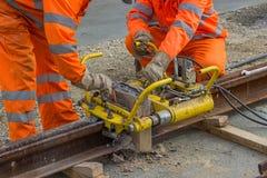 Schweißen Sie Trimmer für Abbau des Extrametalls von Schienenkopf 3 Stockfotografie