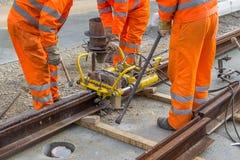 Schweißen Sie Trimmer für Abbau des Extrametalls von Schienenkopf 2 Stockfotografie