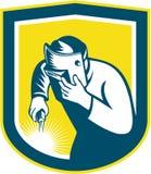 Schweißer-Holding Welding Torch-Masken-Schild Retro- Lizenzfreie Stockfotos