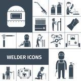 Schweißer Icons Black Set Lizenzfreie Stockfotografie