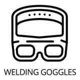 Schweißerschutzbrillenikone, Entwurfsart lizenzfreie abbildung