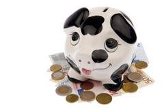 Schwein auf Bett von Banknoten und von Münzen stockbild