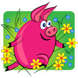 Schwein, das auf Blumenbackground.cartoon Tier läuft Lizenzfreie Stockfotos