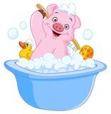 Schwein, das ein Bad nimmt lizenzfreie abbildung