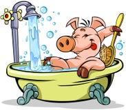 Schwein, das ein Bad nimmt vektor abbildung