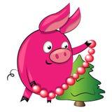 Schwein, das Weihnachtsbaum verziert. Abbildung Stockfotos