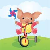 Schwein durch Fahrrad stockfoto