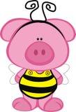Schwein in einem Bienen-Kostüm Stockfotografie