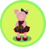 Schwein in einem Kleid Stockfotografie