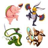 Schwein, Kaninchen, Schlange und Affe Stockfoto