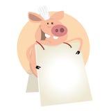 Schwein-Koch-Zeichen Stockfotografie