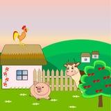 Schwein, Kuh und Hahn auf einem Bauernhof Stockbilder